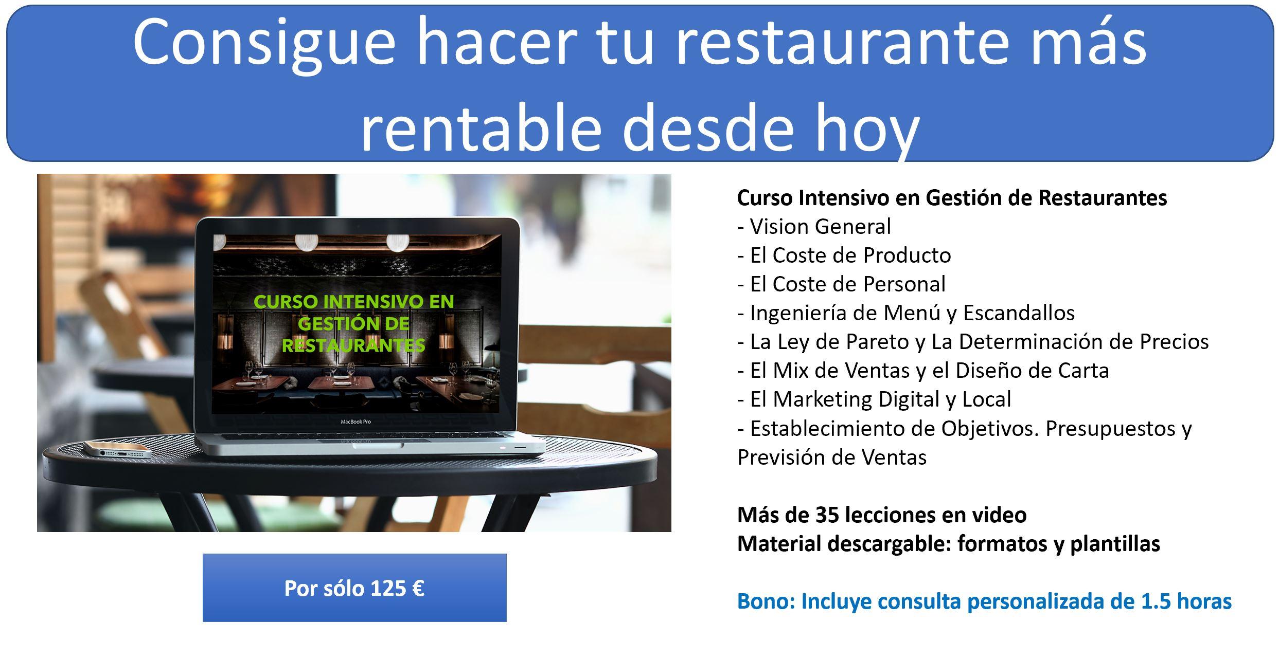 Curso de Gestión de Restaurantes on line